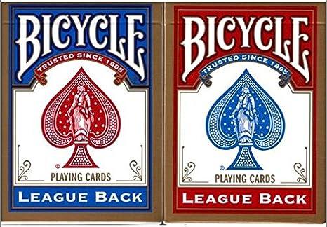 Caja de barajas BICYCLE League back (6 Rojo / 6 Azul): Amazon.es ...