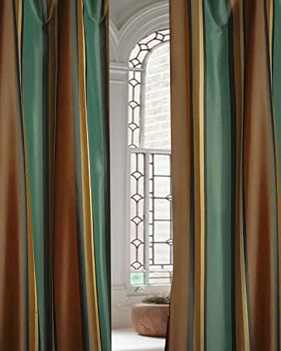 DS Madison Blue Brown Striped Faux Silk Living Room Window Lined Pole Pocket Curtain Panel Drape 52W X 120L