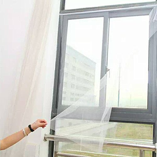 Flyzzz DIY Self-Adhesive Window Screen Netting Mesh Curtain, 130x150cm (About 51.18x59.05 Inches), with Hook and Sticky Tape, Fitted to Multiple Windows (1 Pack, White)