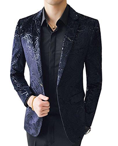 OUYE Men's Navy Blue 2 Button Soft Casual Blazer 4X-Large