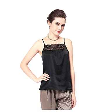a407a0d6300300 Forever Angel Women s 100% Silk Charmeuse Lace Camisole Top Black Size XS