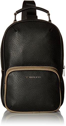 Armani Jeans Men's Pu Backpack with Logo, Black by ARMANI JEANS