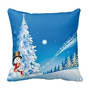 Generic Custom 18 X 18 Pillow Cover Cover Two Happy Snowmen Pillowcases