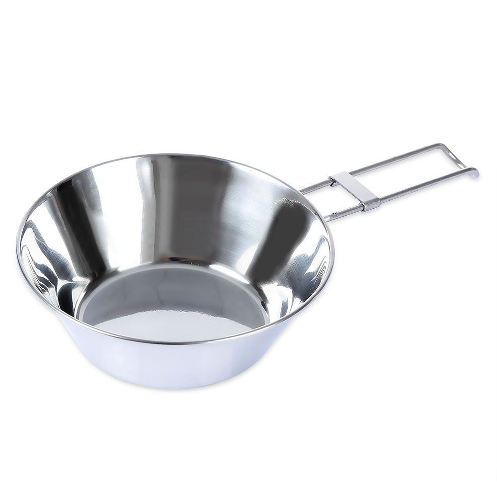 Ezyoutdoor Stainless Steel Cookware Cooking Portable Bowl With Folding Handle for Camping Picnic Bivouac Outdoor Activities