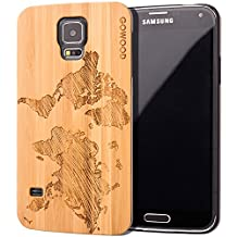 Samsung Galaxy S5 Case - Wood - Real Natural Bamboo Wooden Backplate With Unique World Map Design and Shock Absorbing Polycarbonate Protective Bumper