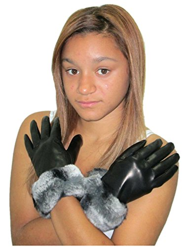 Cashmere Lined Lambskin Wrist Length Black Leather Gloves w/REX Chinchilla Cuffs 8.5 - Black Leather Mink