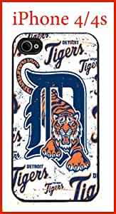 MLB Detroit Tigers Case for iPhone 4 4s Case Hard Silicone Case Apple iPhone 4 4s