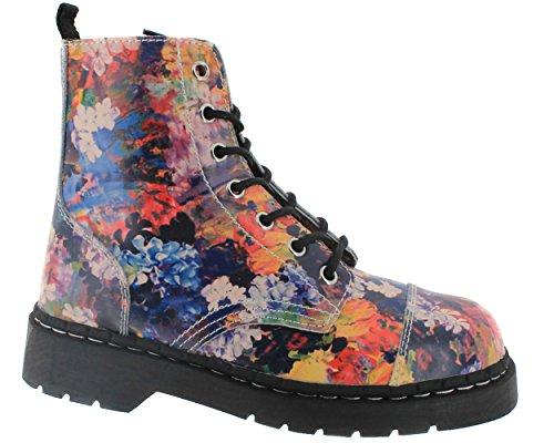 Combat k Leather Amazing Eye Tuk 7 T2225 Ladies T New u Anarchic Boots Punk Floral Uw0Hx5qf
