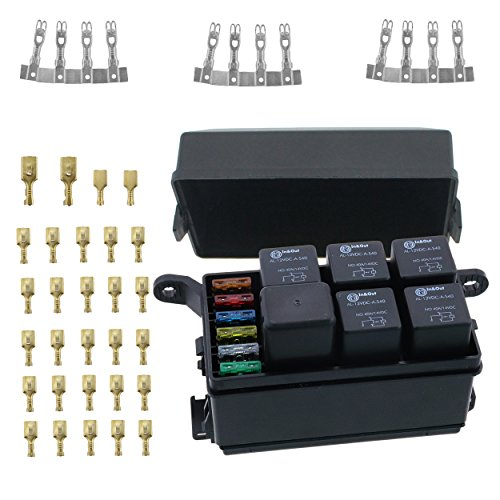 12-Slot fuse Relay Box [6 Relays] [6 Blade Fuses] with 12V 40A relays,fuses and Metallic Pins for Automotive and Marine Use