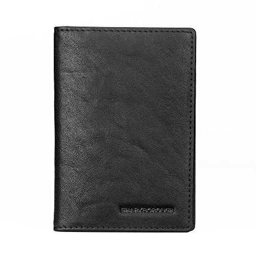 Sharkborough Mens Vertical Bifold Compact Wallet Slim Thin Credit ID Card Holders Extra Capacity Genuine (Vertical Compact)
