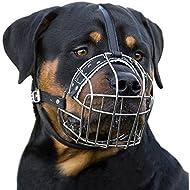 BronzeDog Dog Muzzle Wire Basket Rottweiler Adjustable Leather Straps (L)