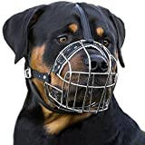BronzeDog Dog Muzzle Wire Basket Rottweiler Adjustable Leather Straps (L)
