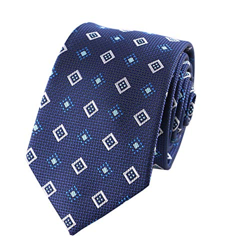 Mens Repp Soft Navy Blue Silk Tie Fashion Diamond Woven Working Summer Suit Neckties