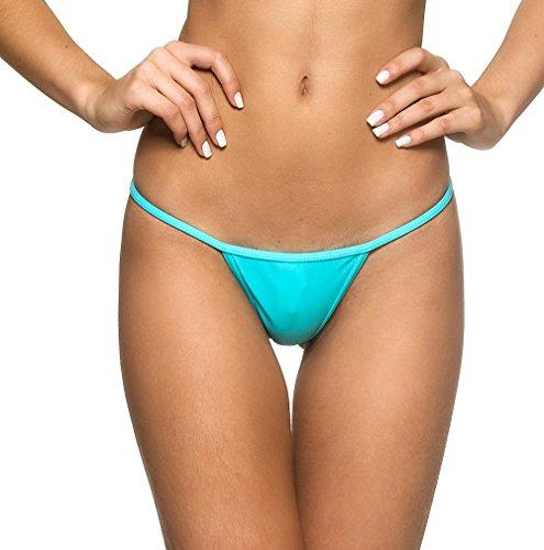 THE MESH KING COQUETA Brazilian Itsy Bitsy Micro Thong Mini Bikini Swimsuit G String AQUA-MEDIUM