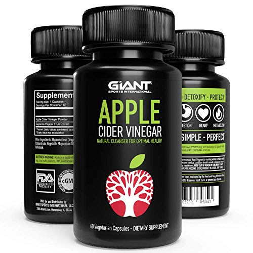 Giant Keto Apple Cider Vinegar Pills with Cayenne Pepper for Natural Detox, Fast Weight Loss, Appetite Suppressant, Immune Booster, Digestive Support for Optimal Health 500mg per serving / 60 Capsules