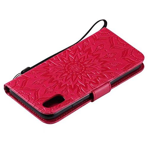 JIALUN-carcasa de telefono Doble lado en relieve patrón de girasol Premium PU cubierta de cuero con ranuras para tarjetas y cordón para el iPhone X ( Color : Brown ) Red