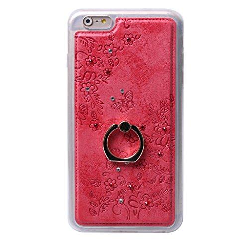 iPhone 6S Plus/iPhone 6 Plus Hülle, Apple iPhone 6S Plus / Apple iPhone 6 Plus Hülle Lifetrust®[ rote ] Schutzhülle Flip PU Ledertasche Ständer Schutzhülle Tasche Hülle Case Cover mit Kreditkartenstec