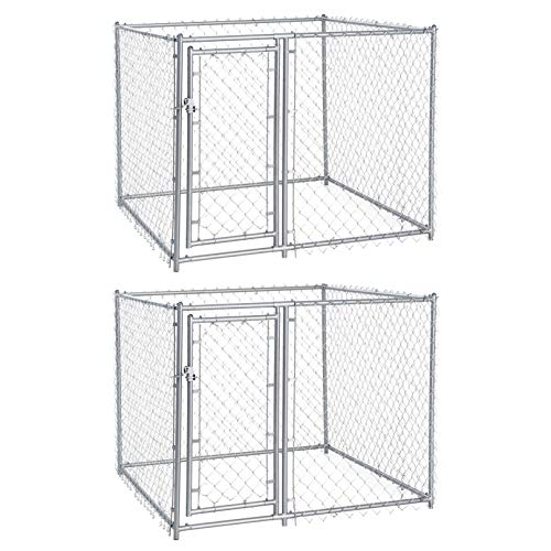Lucky Dog 5 x 5 x 4 Foot Heavy Duty Outdoor Chain Link Dog Kennel (2 - Runs Chain Link Dog