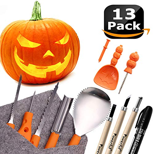 Halloween Carving Set (Powerful 12 PCS Pumpkin Carving Tools Kit Knife Set for Kids Professional DIY Halloween Jack-o-Lantern Pumpkins Candles Decorations-Most Useful Carving)