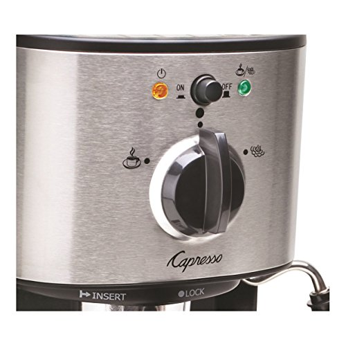 Capresso Pump Espresso and Cappuccino Machine Bundle with Knox Milk Frother, Descaler and Tiara Cup & Saucer 2-Pk