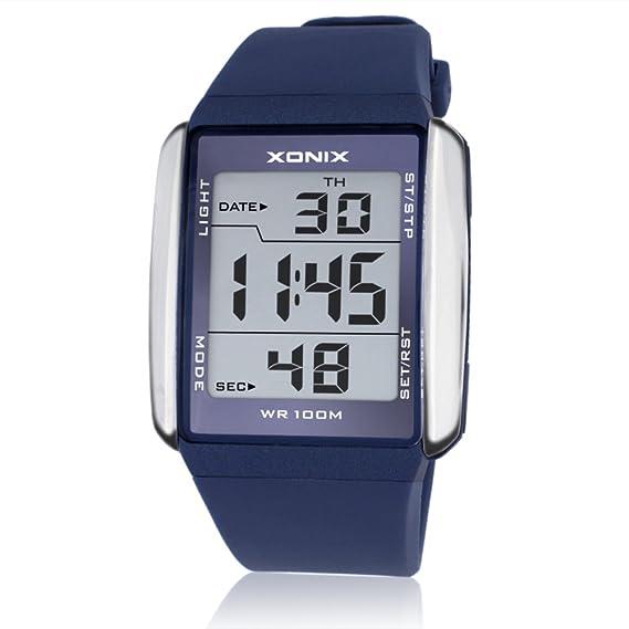 Reloj deportivo,Grandes números luminoso moda diseño multifuncional electrónico led perfecto para de interior y deportes al aire libre a prueba de agua -A: ...