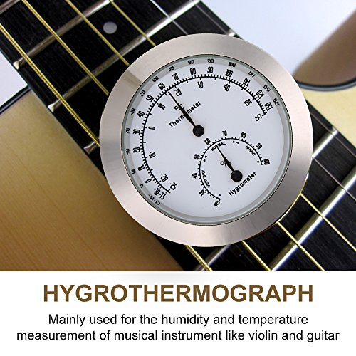 Violin Thermometer Hygrometer, Round Humidity Temperature Meter for Guitar Case Instrument Care(Silver)