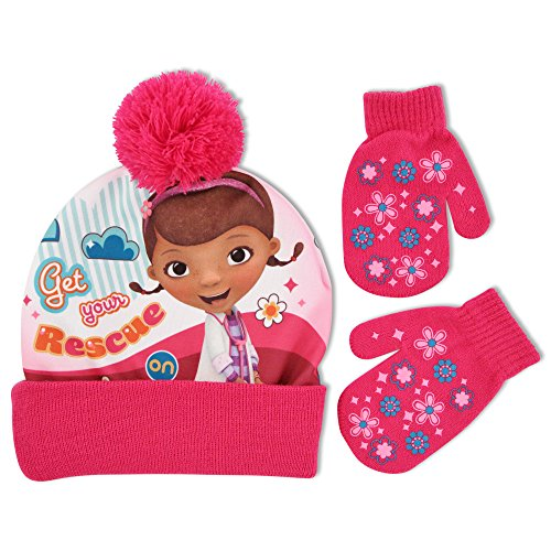 Toddler Doc Mcstuffins Costumes (Disney Toddler Girls Doc McStuffins Hat and Mitten Cold Weather Set, Age 2-5)