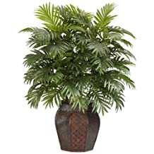 Nearly Natural 6651 Areca Palm with Vase Decorative Silk Plant, Green