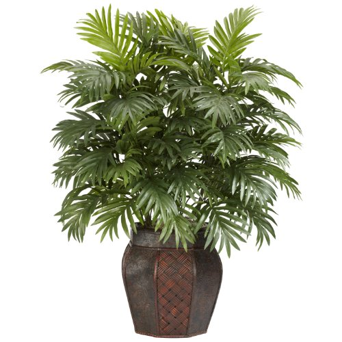 Jungle Plants Silk (Nearly Natural 6651 Areca Palm with Vase Decorative Silk Plant, Green)