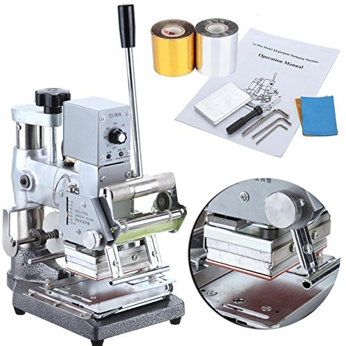 Iglobalbuy 300W Hot Foil Stamping Machine PVC Card Manual Tipper Stamper Card Bronzing Machine with 2 Free Roll Foil Paper -