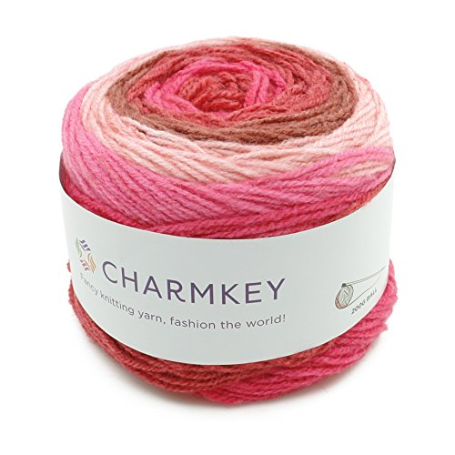 (Charmkey Romantic Cake Yarn 4 Ply Super Soft 4 Medium Acrylic Wool Blended Colorful Self Striping Hand Dyed Gradient Mix-Colored Knitting Crocheting Thread, 1 Skein, 7.05 Ounce (Candy Pink))