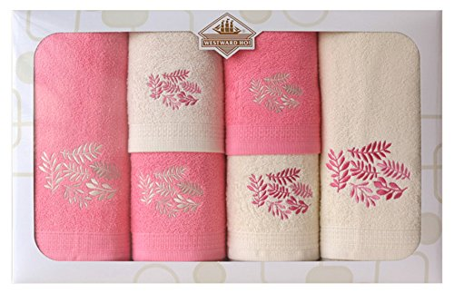 Westward Ho! Autumn Embroidery Box Towel, Cream/Pink by Westward Ho!