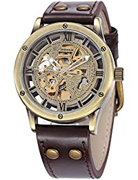 Men's Steampunk Automatic Watches Bronze Hollow Skeleton Mechanical Leather Waterproof Watch (Brown SH9397GA)