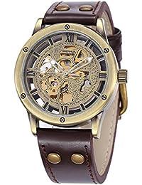 Menu0027s Steampunk Automatic Watches Bronze Hollow Skeleton Mechanical Leather  Waterproof Watch (Brown SH9397GA)