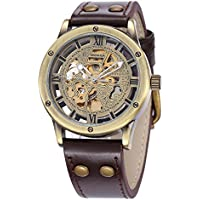 Carrie Hughes Men's Steampunk Automatic Watches Bronze Hollow Skeleton Mechanical Leather Waterproof Watch (Brown SH9397GA)