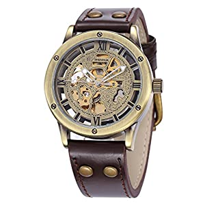 Carrie Hughes Men's Steampunk Automatic Watches Bronze Skeleton Mechanical Leather Waterproof Watch