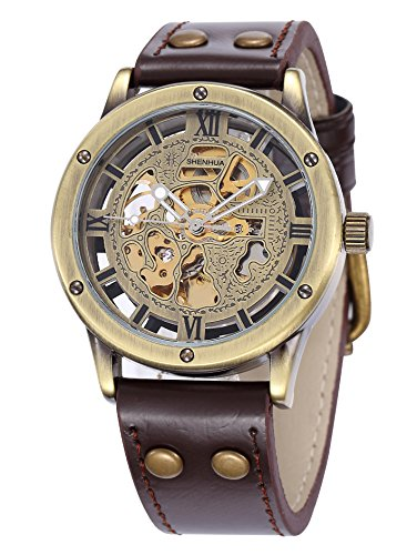 Brown Skeleton - Carrie Hughes Men's Steampunk Automatic Watches Bronze Hollow Skeleton Mechanical Leather Waterproof Watch (Brown SH9397GA)