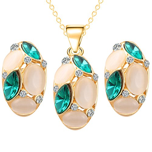 Crystal Sweater Necklace Stud Earrings Set Cat Oat Stone Ornament Set Oval (Green)
