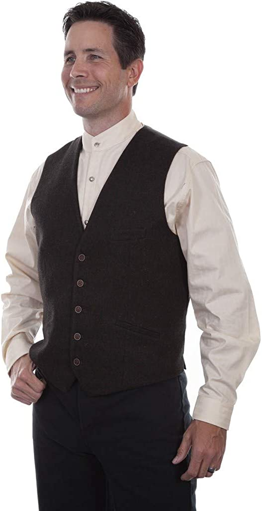 1920s Style Mens Vests Scully Mens Rangewear Western Wool Tweed Vest - Rw312-Brn $66.10 AT vintagedancer.com