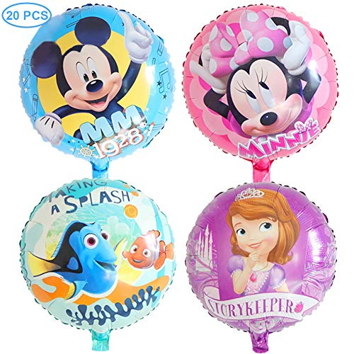 20 Pcs Disney Mylar Balloon Set, 5 Minnie,5 Mickey,5 Clown Fish,5 Princess Balloon for Birthday Baby Shower Party Decoration Supplies ()