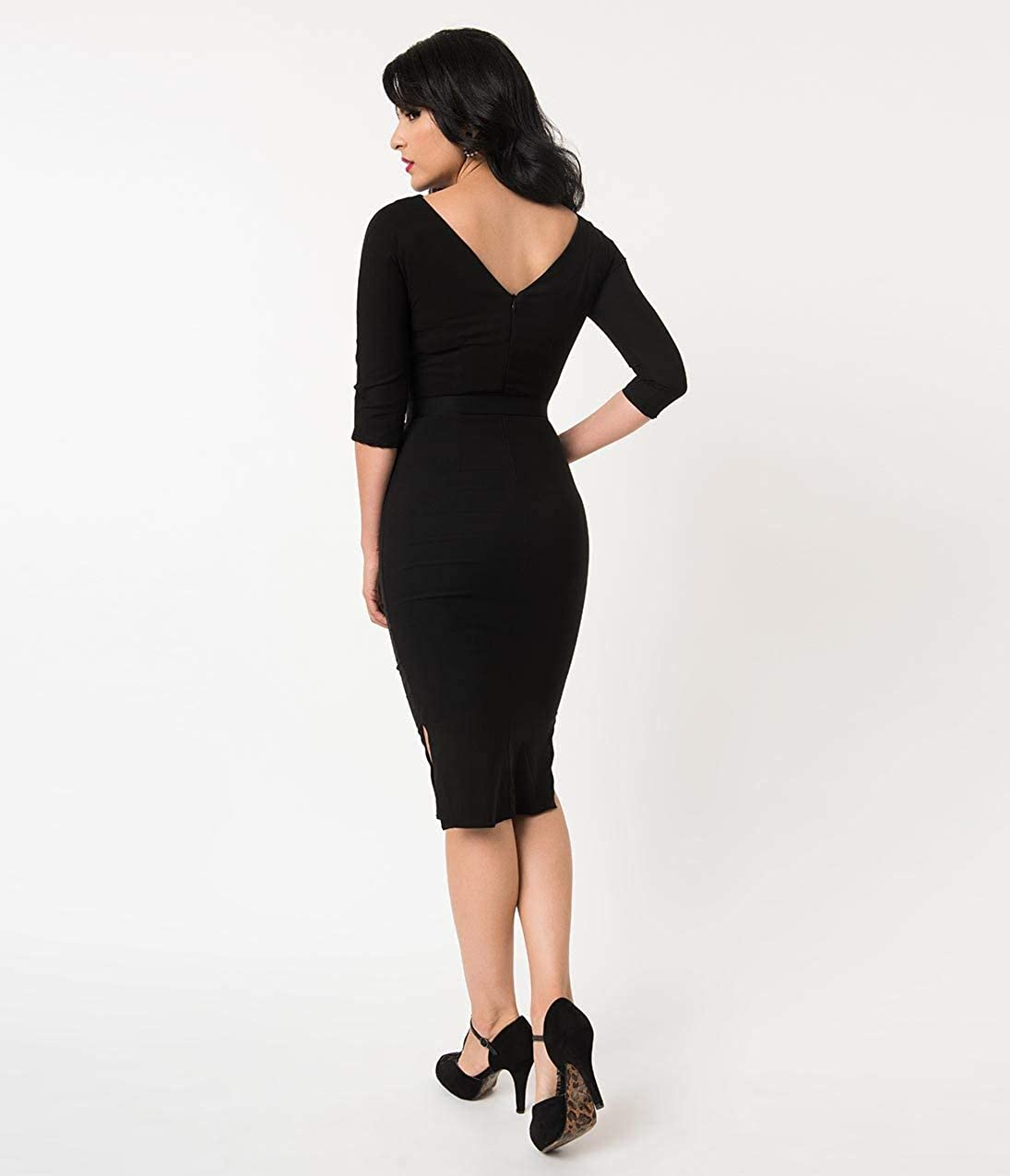 baa92ed60b Unique Vintage 1940s Style Black Stretch Sleeved Adelia Wiggle Dress at  Amazon Women s Clothing store