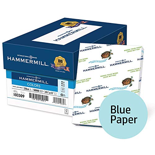 Hammermill Colored Paper, Blue Printer Paper, 20lb, 8.5x11 Paper, Letter Size, 5000 Sheets / 10 Ream Case, Pastel Paper, Colorful Paper (103309C) ()