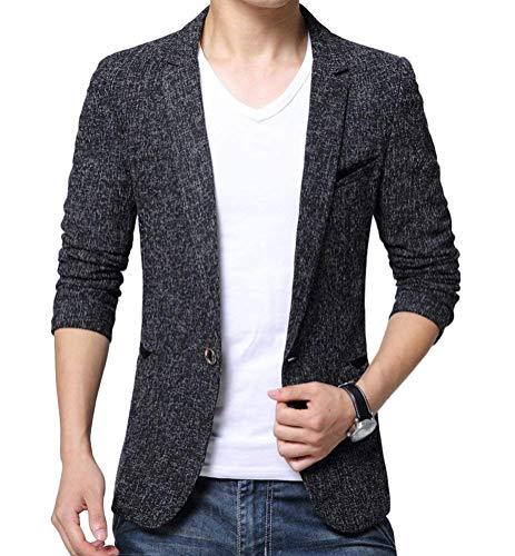 Essential Manteau Un Casual Jacket Vêtements Grau Loisirs Slim Blazer Mode Hommes Bouton Fit De Sweat wqZES