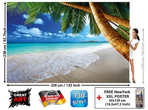 Wall Mural Wallpaper - Palm Trees Beach - Decoration Caribbean Bay Tropic Paradise Nature Island Palms Tropical Isle Landscape (132.3 x 93.7 Inch / 336 x 238 cm)