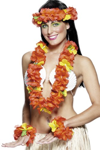 [Smiffy's Women's Hawaiian Set with Garland Headband and Wristband, Red, One Size] (Hawaiian Costumes For Adults)