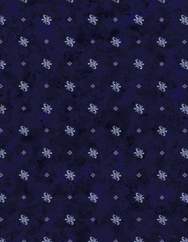 Series Starburst - Starbursts & Dots Series 9814 Midnight Blue Vinyl Tablecloth 54