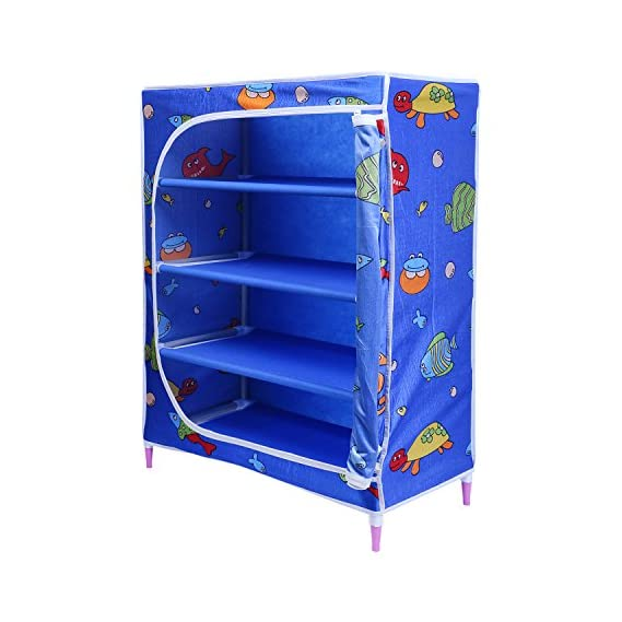 Little One's | 4 Shelves Baby Foldable Wardrobe | Aquatic Blue (Made in India)