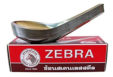 Zebra Spoon Pack of 12 Zebra Thai Chinese Asian Stainless Steel Rice Soup Spoons High Quality by (Kindle Audio Ap)