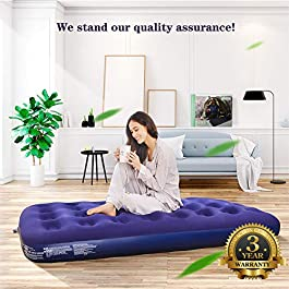 Inflatable Twin Air Mattress with Pump & Pillow – Comfort Single Blow Up Airbed with Patch Kit as Camping Air Mattresse -Portable Air Bed for Guests/Family/Outdoor Ideal Gifts for Travel