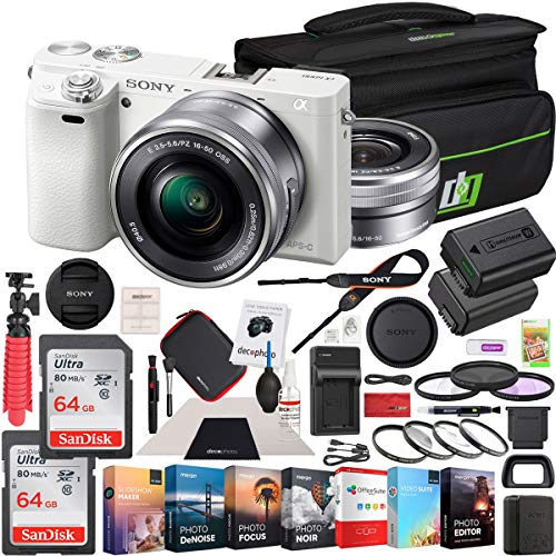 Sony Alpha a6000 Mirrorless Digital Camera 24.3MP SLR (White) with 16-50mm Lens ILCE-6000L/W 128GB Memory Deco Gear Case Filter Kit Charger & Extra Battery Power Editing Bundle